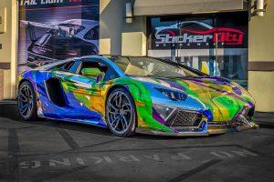 Multi chrome color wrap on Lamborghini