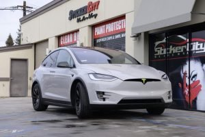 Chalk White wrap on Tesla Model X